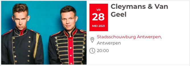 Eerste concert voor Cleymans & Van Geel met debuutalbum